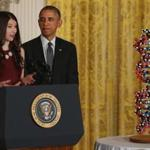Elana Simon, a Harvard student, introduced the president at a White House event highlighting a funding proposal for precision medicine.